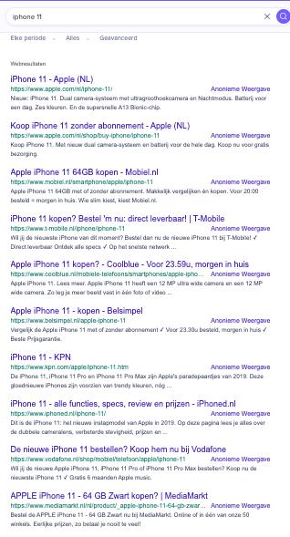 SERP iPhone 11